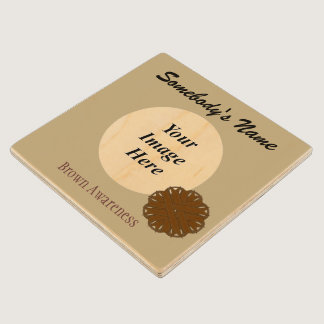 Brown Flower Ribbon Template by Kenneth Yoncich Wooden Coaster