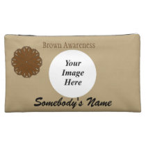 Brown Flower Ribbon Template Cosmetic Bag