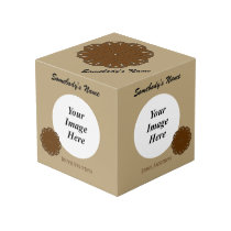 Brown Flower Ribbon Template Cube