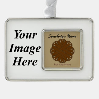 Brown Flower Ribbon Template (H-I) Silver Plated Framed Ornament