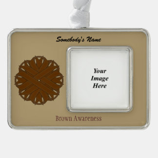 Brown Flower Ribbon Template (H-O) Silver Plated Framed Ornament