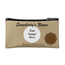 Brown Flower Ribbon Template Makeup Bag