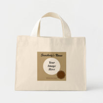 Brown Flower Ribbon Template Mini Tote Bag