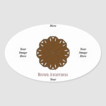 Brown Flower Ribbon Template Oval Sticker