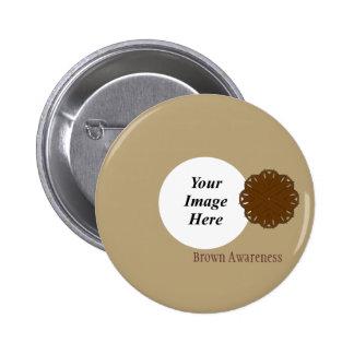Brown Flower Ribbon Template Pinback Button