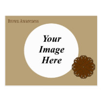 Brown Flower Ribbon Template Postcard