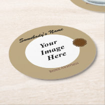 Brown Flower Ribbon Template Round Paper Coaster