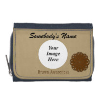 Brown Flower Ribbon Template Wallet
