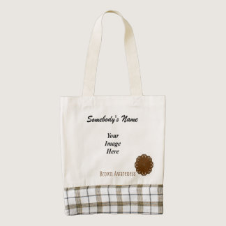 Brown Flower Ribbon Template Zazzle HEART Tote Bag