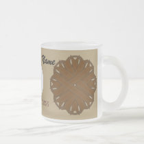 Brown Flower Ribbon Tmpl by Kenneth Yoncich Frosted Glass Coffee Mug
