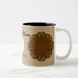 Brown Flower Ribbon Tmpl by Kenneth Yoncich Two-Tone Coffee Mug