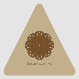 Brown Flower Ribbon Triangle Sticker
