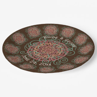 Brown Flower Rustic Abstract Floral Wedding 9 Inch Paper Plate
