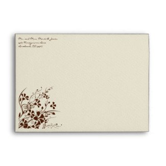 Brown Flower Swirl Wedding Envelopes envelope