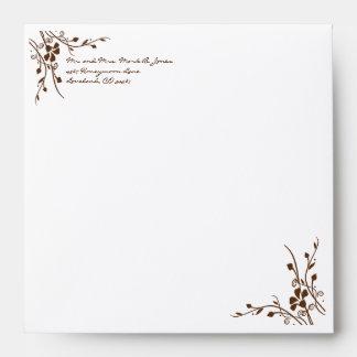Brown Flower Swirl Wedding Envelopes