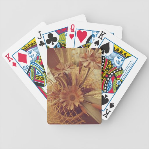 Brown flowers bicycle playing cards