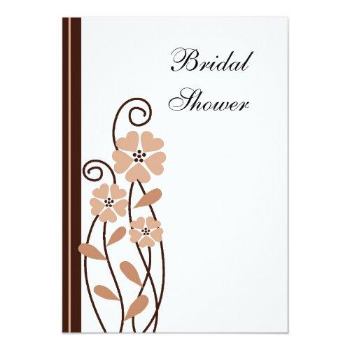Brown Flowers : : Elegant Wedding Bridal Shower 5x7 Paper Invitation Card