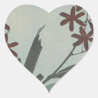 Brown Flowers Heart Sticker