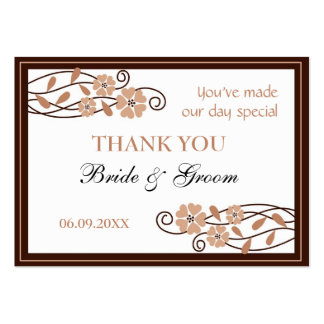 Brown Flowers Thank You Wedding Favor Gift Tags Large Business Cards (Pack Of 100)