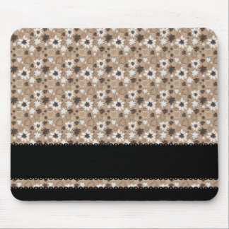Brown flowers with black stripes mouse pad