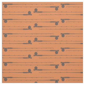 Brown Fly Fishing Rods Pattern Fabric