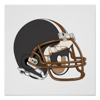 Brown Football Helmet Poster