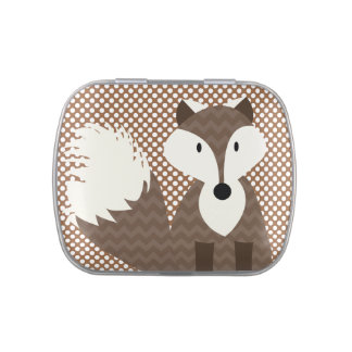 Brown Fox on Brown Dots Candy Tins