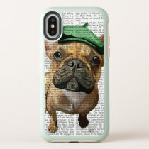 Brown French Bulldog with Green Hat OtterBox Symmetry iPhone X Case