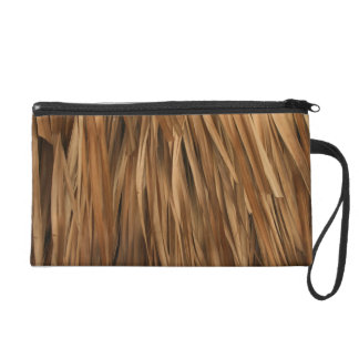 Brown frond roof pattern wristlet purses