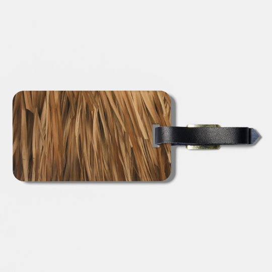 Brown frond roof pattern luggage tag