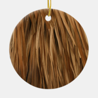 Brown frond roof pattern Double-Sided ceramic round christmas ornament