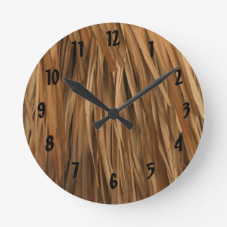Brown frond roof pattern round clock
