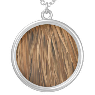 Brown frond roof pattern round pendant necklace