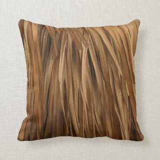 Brown frond roof pattern throw pillow
