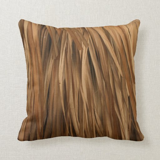 Brown frond roof pattern throw pillows