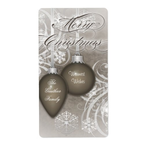Brown Frosted Flourishes Holiday Wine Label Shipping Label