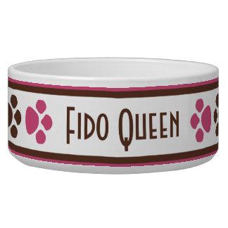 Brown & Fuchsia Paw Prints Personalized Dog Bowl