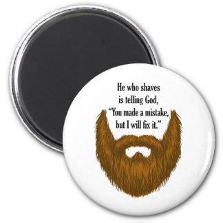 brown fuzzy beard 2 inch round magnet