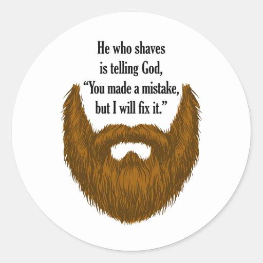 brown fuzzy beard classic round sticker