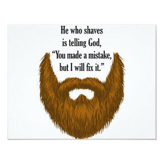 "brown fuzzy beard 4.25"" x 5.5"" invitation card"