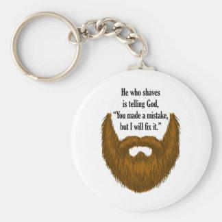 brown fuzzy beard keychain