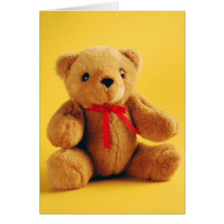 Brown fuzzy teddy bear print card