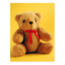 Brown fuzzy teddy bear print postcard