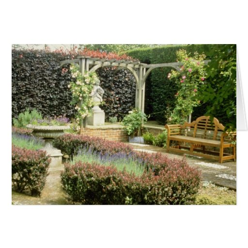 Brown Garden Seat In Rose Pergola, With Berberis A Cards