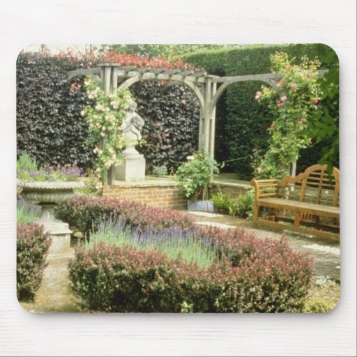 Brown Garden Seat In Rose Pergola, With Berberis A Mouse Pad