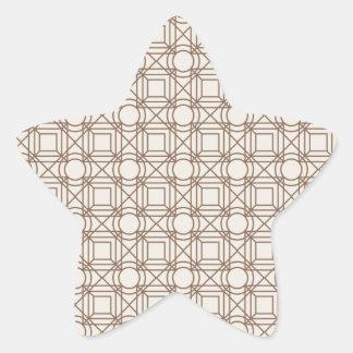 Brown geometrical retro vintage patterns star sticker