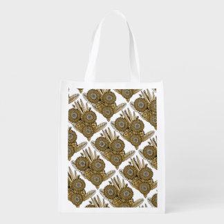Brown Gerbera Daisy Flower Bouquet Grocery Bag
