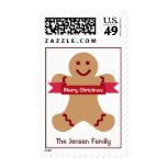Brown gingerbread kid red banner holiday postage