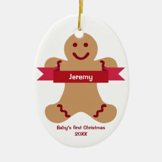 Brown gingerbread kid red banner name baby first ceramic ornament