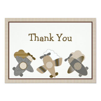Brown Gingham Airplanes Thank You Card